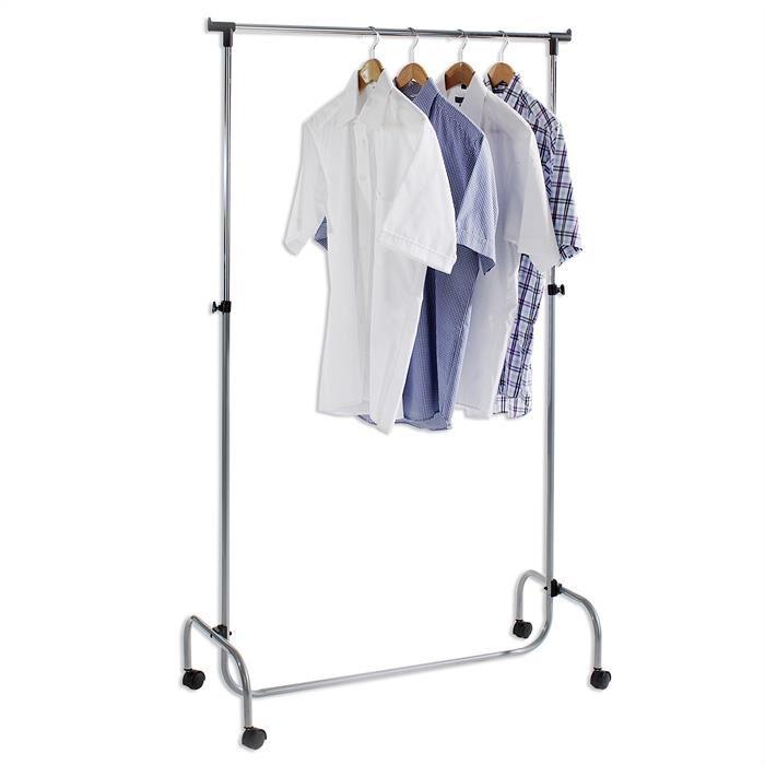 IDIMEX Portant à vêtements TIGER, en métal chromé et couleur aluminium