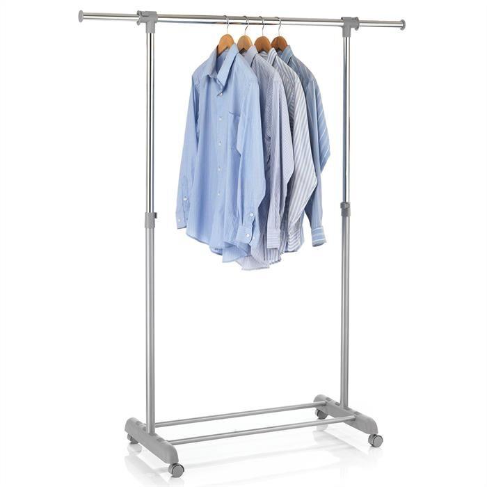 IDIMEX Portant à vêtements SALA, en métal chromé et gris