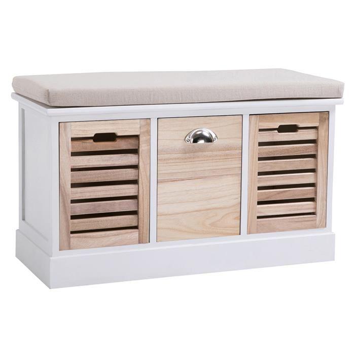 IDIMEX Banc de rangement TRIENT, 3 caisses, blanc et finition bois naturel