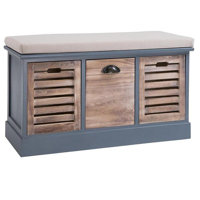 IDIMEX Banc de rangement TRIENT, 3 caisses, gris et finition bois naturel