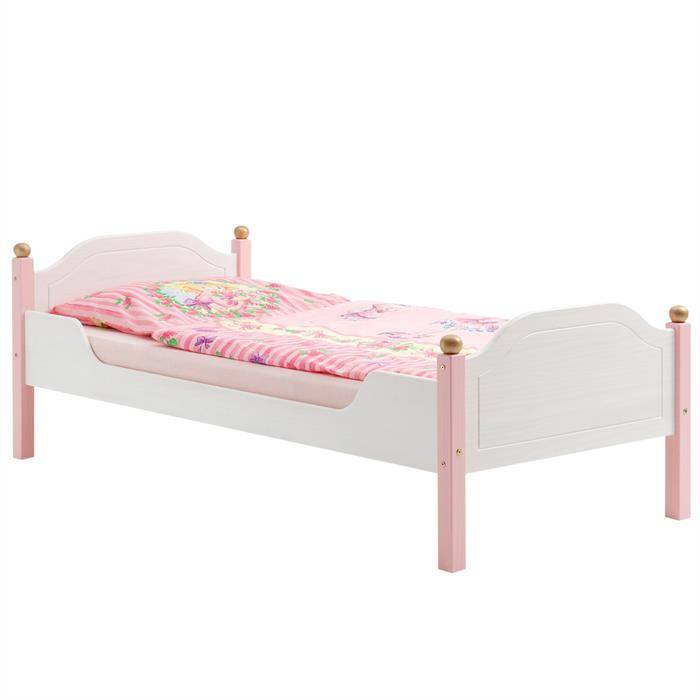 IDIMEX Lit pour enfant ISABELLA, 90 x 200 cm, en pin massif, lasuré blanc et rose