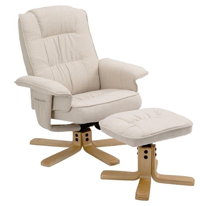 IDIMEX Fauteuil de relaxation avec repose-pieds CHARLY, en tissu beige
