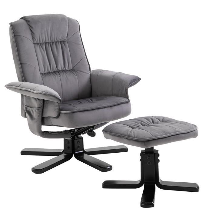 IDIMEX Fauteuil de relaxation avec repose-pieds CHARLES, en velours gris