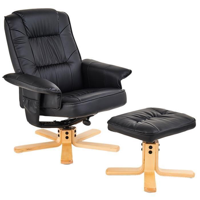 IDIMEX Fauteuil de relaxation avec repose-pieds CHARLY, en synthétique noir