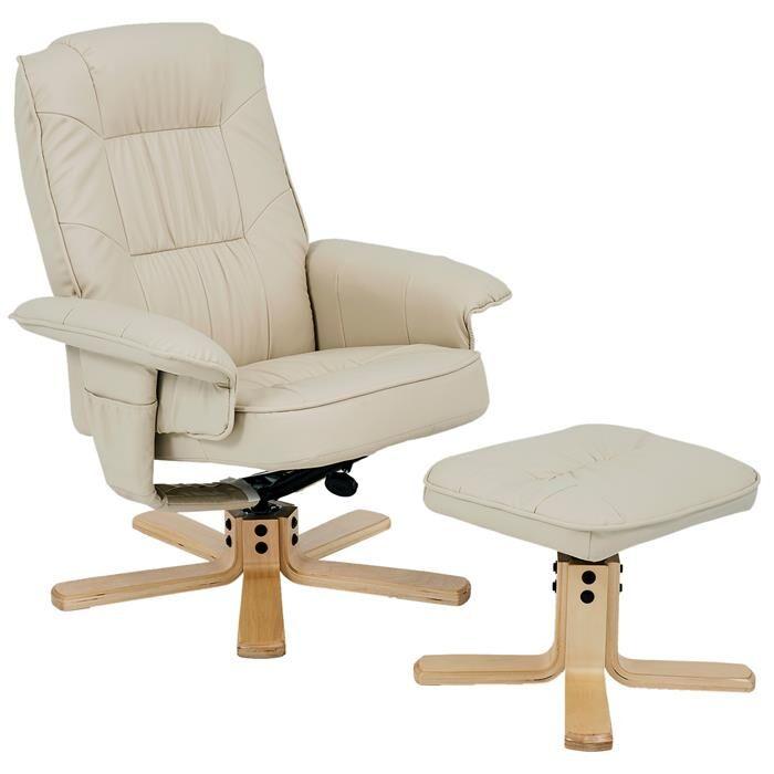 IDIMEX Fauteuil de relaxation avec repose-pieds CHARLY, en synthétique beige