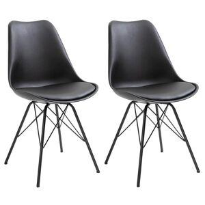 IDIMEX Lot de 2 chaises VALLEY, en synthétique noir - Publicité