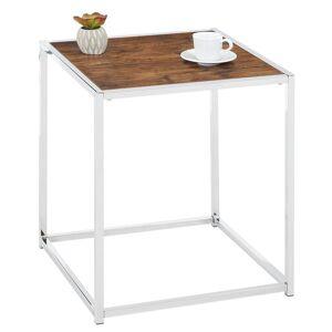 IDIMEX Table d'appoint carré JOLANDA, en métal chromé et décor chêne sauvage - Publicité