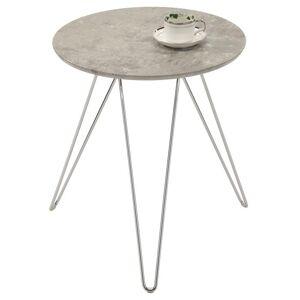 IDIMEX Table d'appoint BENNO, avec pieds en épingle métal chromé et décor béton gris - Publicité