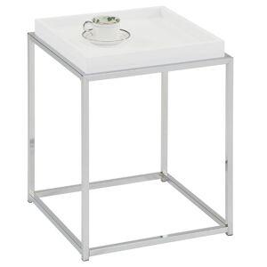 IDIMEX Table d'appoint carré NOW, en métal chromé et décor blanc mat - Publicité