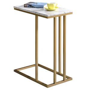 IDIMEX Table d'appoint rectangulaire CARLOTA, en métal doré et MDF décor marbre blanc - Publicité