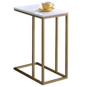 IDIMEX Table d'appoint rectangulaire DEBORA, en métal doré et MDF décor blanc - Publicité