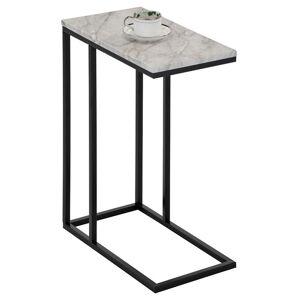IDIMEX Table d'appoint rectangulaire DEBORA, en métal noir et décor marbre blanc - Publicité
