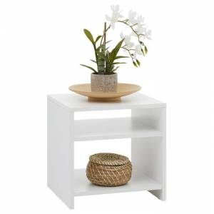 IDIMEX Table d'appoint LIVORNO, en mélaminé blanc mat - Publicité