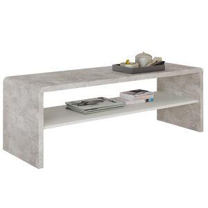 IDIMEX Table basse / Meuble TV NOELLE, en mélaminé décor béton et blanc mat - Publicité