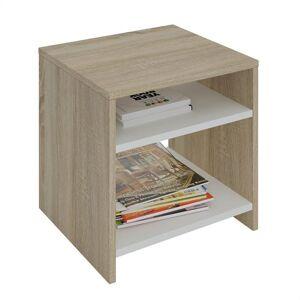 IDIMEX Table d'appoint LIVORNO, en mélaminé décor chêne sonoma et blanc mat - Publicité