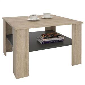 IDIMEX Table basse SEJOUR, en mélaminé décor chêne sonoma et gris mat - Publicité