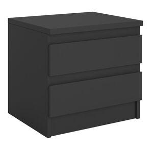 IDIMEX Table de chevet PAMPLONA, en mélaminé noir mat - Publicité