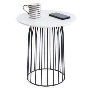 IDIMEX Table basse ronde SALAMANCA, en métal noir et décor blanc - Publicité