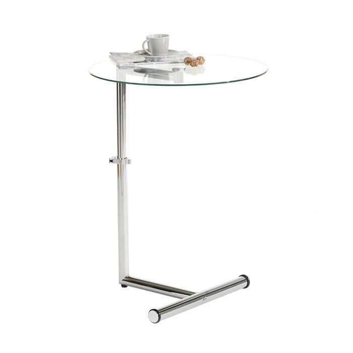 IDIMEX Table d'appoint LEONIE, métal chromé et verre trempé transparent