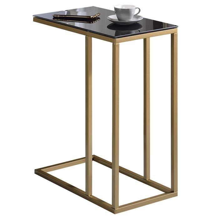 IDIMEX Table d'appoint rectangulaire BELGRAD, en métal doré et plateau en verre trempé noir