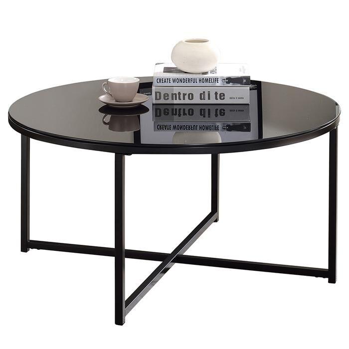 IDIMEX Table basse ronde NOELIA, en métal noir et plateau en verre noir