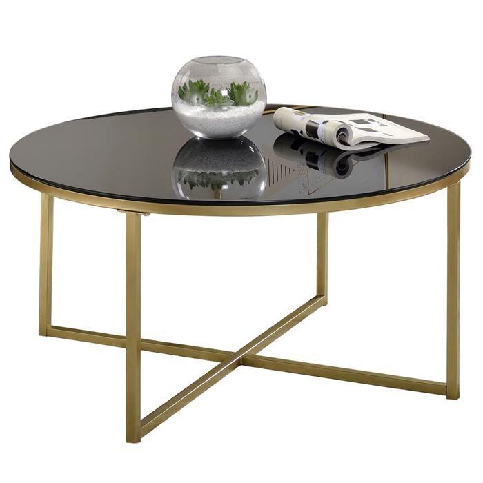 IDIMEX Table basse ronde NOELIA, en métal doré et plateau en verre noir