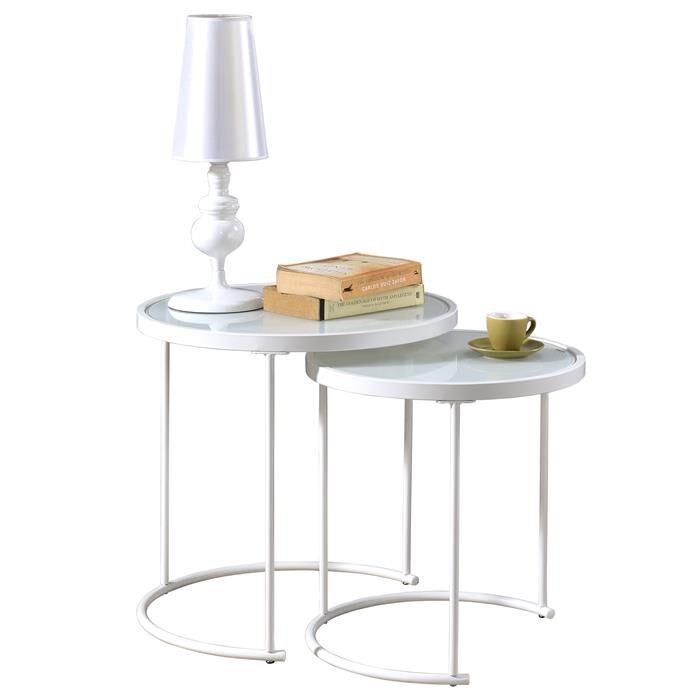 IDIMEX Lot de 2 tables d'appoint gigognes LEYRE, plateau rond en verre blanc et cadre en métal blanc