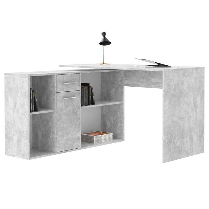 IDIMEX Bureau d'angle CARMEN avec meuble de rangement, décor béton