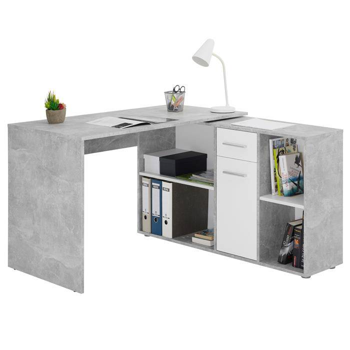 IDIMEX Bureau d'angle CARMEN avec meuble de rangement, décor béton et blanc mat