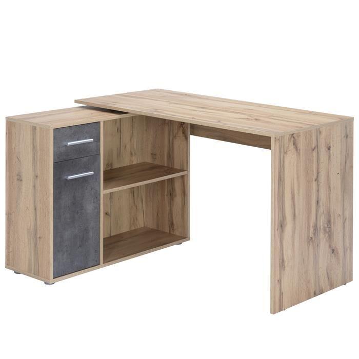 IDIMEX Bureau d'angle ISOTTA avec meuble de rangement, décor chêne sauvage et béton foncé