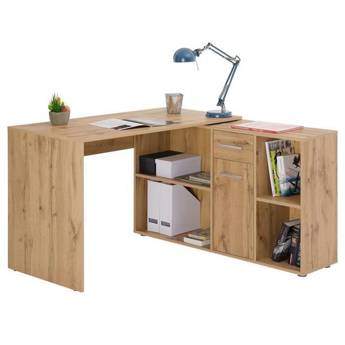 IDIMEX Bureau d'angle CARMEN avec meuble de rangement, décor chêne sauvage