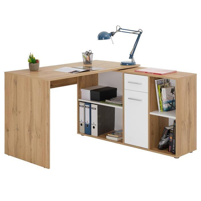 IDIMEX Bureau d'angle CARMEN avec meuble de rangement, décor chêne sauvage et blanc mat