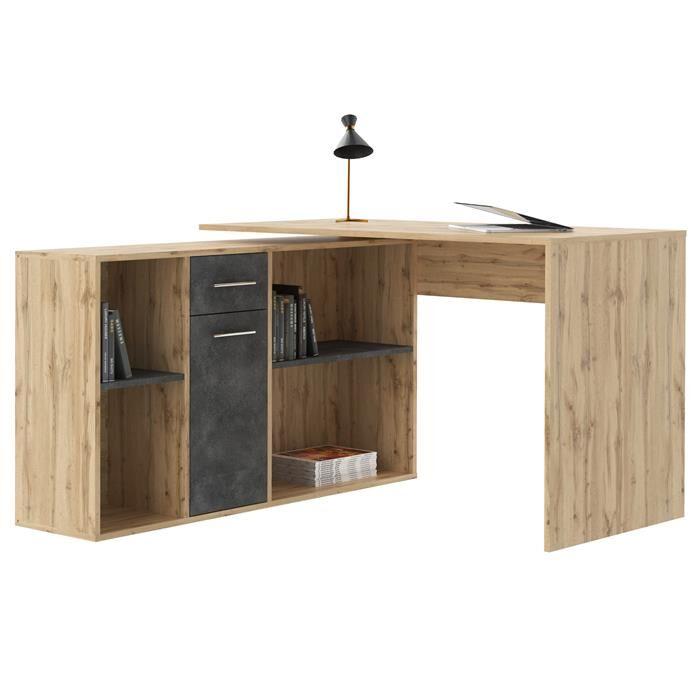 IDIMEX Bureau d'angle CARMEN avec meuble de rangement, décor chêne sauvage et béton foncé