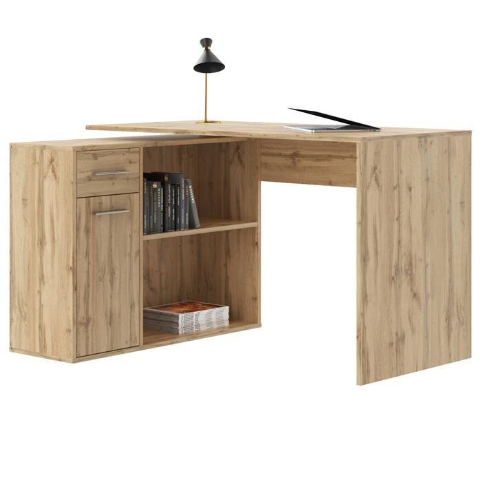 IDIMEX Bureau d'angle ISOTTA avec meuble de rangement, décor chêne sauvage