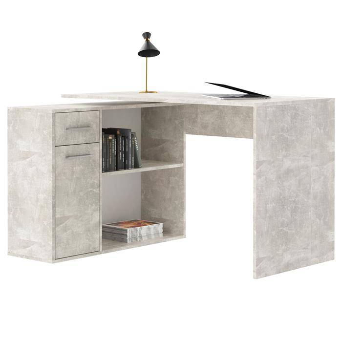 IDIMEX Bureau d'angle ISOTTA avec meuble de rangement, décor béton