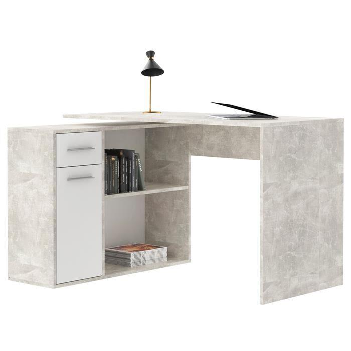 IDIMEX Bureau d'angle ISOTTA avec meuble de rangement, décor béton et blanc mat