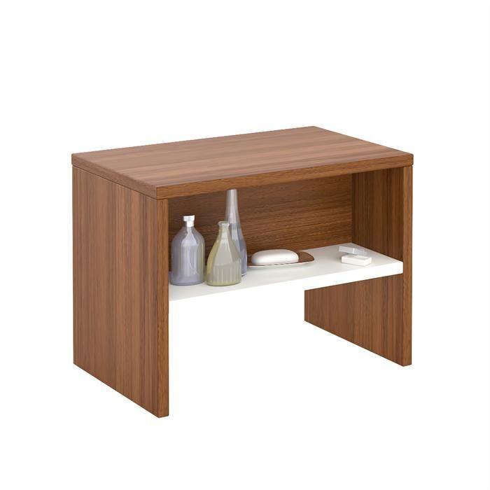 IDIMEX Table de chevet DION, en mélaminé couleur noyer et blanc mat