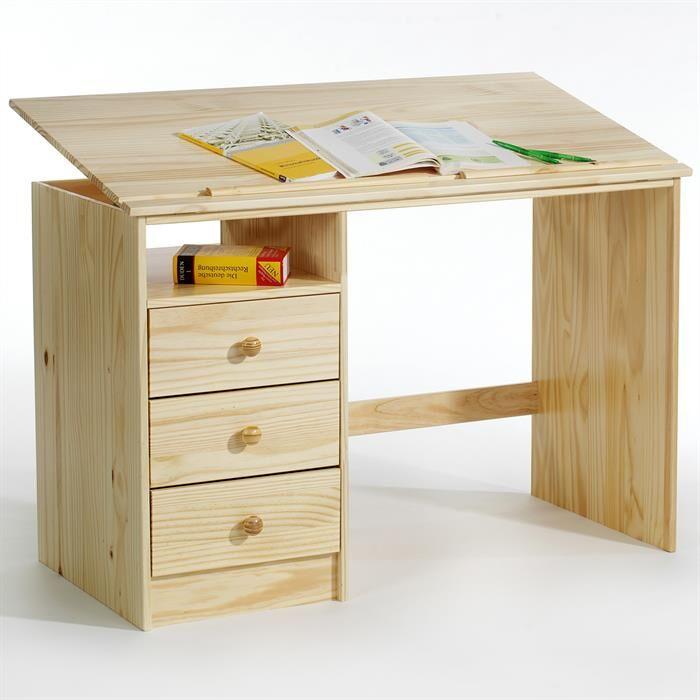 IDIMEX Bureau enfant KEVIN, en pin massif, 3 tiroirs et plateau inclinable, vernis naturel