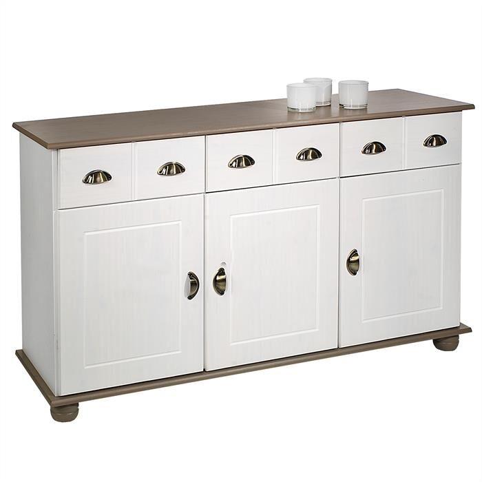 IDIMEX Buffet COLMAR en pin massif, 3 tiroirs et 3 portes, lasuré blanc et taupe