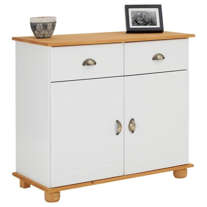 IDIMEX Buffet COLMAR en pin massif, 2 tiroirs et 2 portes, lasuré blanc et brun