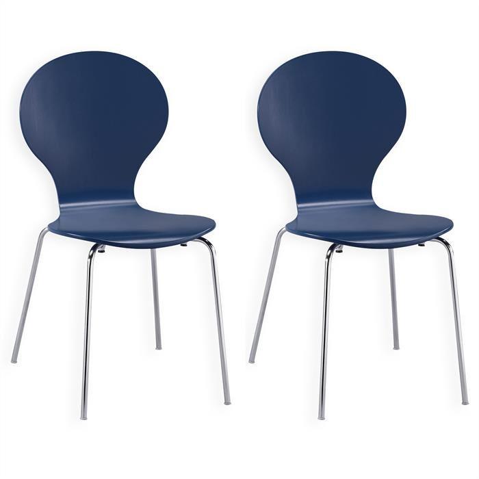 IDIMEX Lot de 2 chaises empilables MAUI, coloris bleu