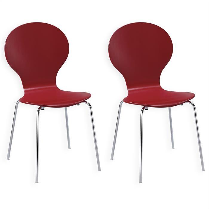 IDIMEX Lot de 2 chaises empilables MAUI, coloris rouge