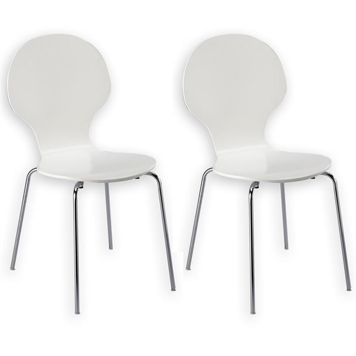 IDIMEX Lot de 2 chaises empilables MAUI, coloris blanc