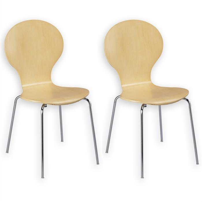 IDIMEX Lot de 2 chaises empilables MAUI, coloris beige