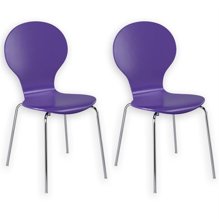 IDIMEX Lot de 2 chaises empilables MAUI, coloris lilas