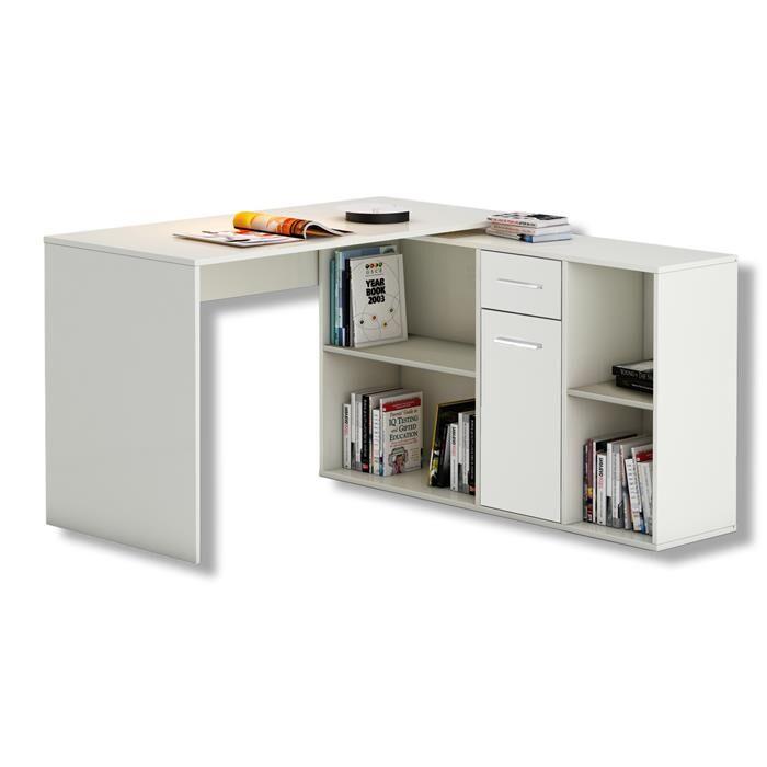IDIMEX Bureau d'angle CARMEN avec meuble de rangement, décor blanc mat