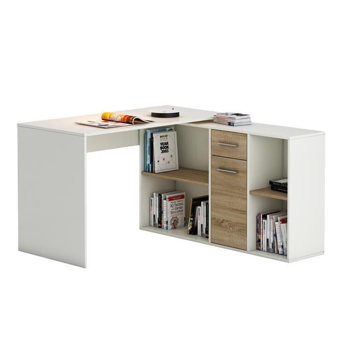 IDIMEX Bureau d'angle CARMEN avec meuble de rangement, décor blanc mat et chêne sonoma