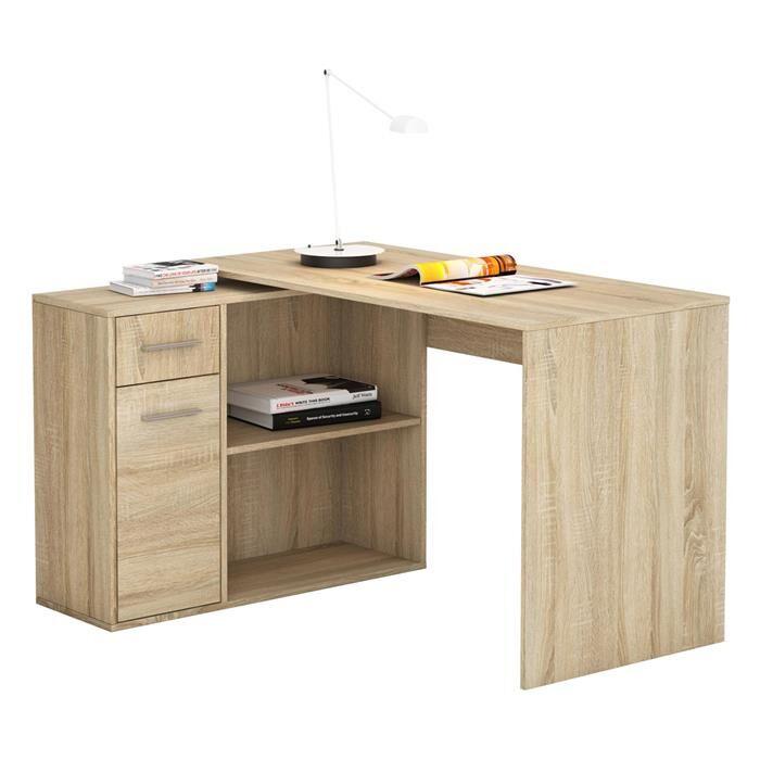 IDIMEX Bureau d'angle ISOTTA avec meuble de rangement, décor chêne sonoma