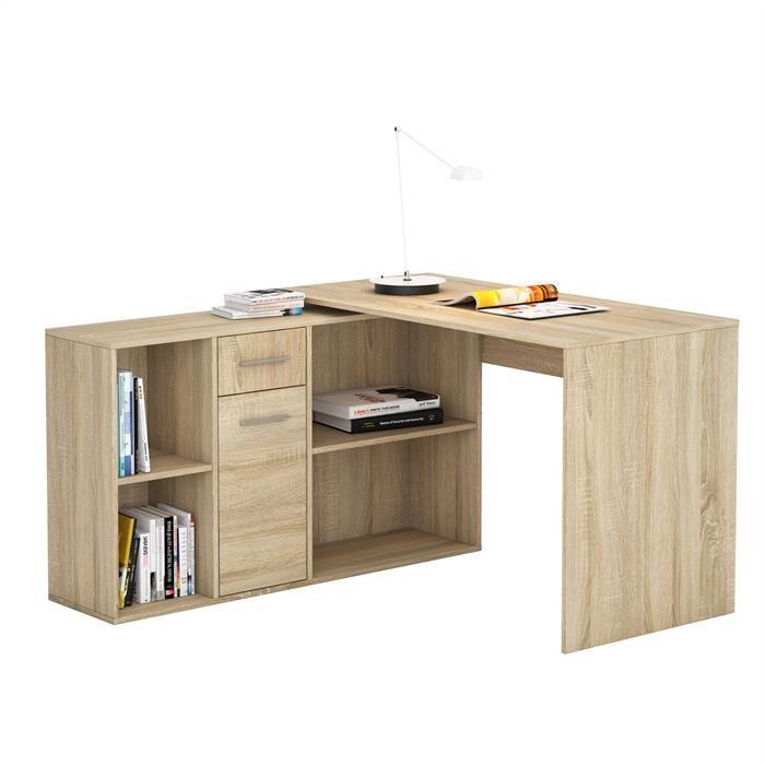 IDIMEX Bureau d'angle CARMEN avec meuble de rangement, décor chêne sonoma