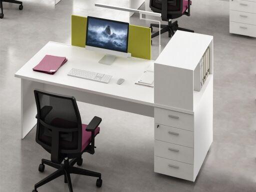 Kesiolt Bureau individuel ADAMS avec caisson porteur et niche, bureau pratique fabriqué en Italie
